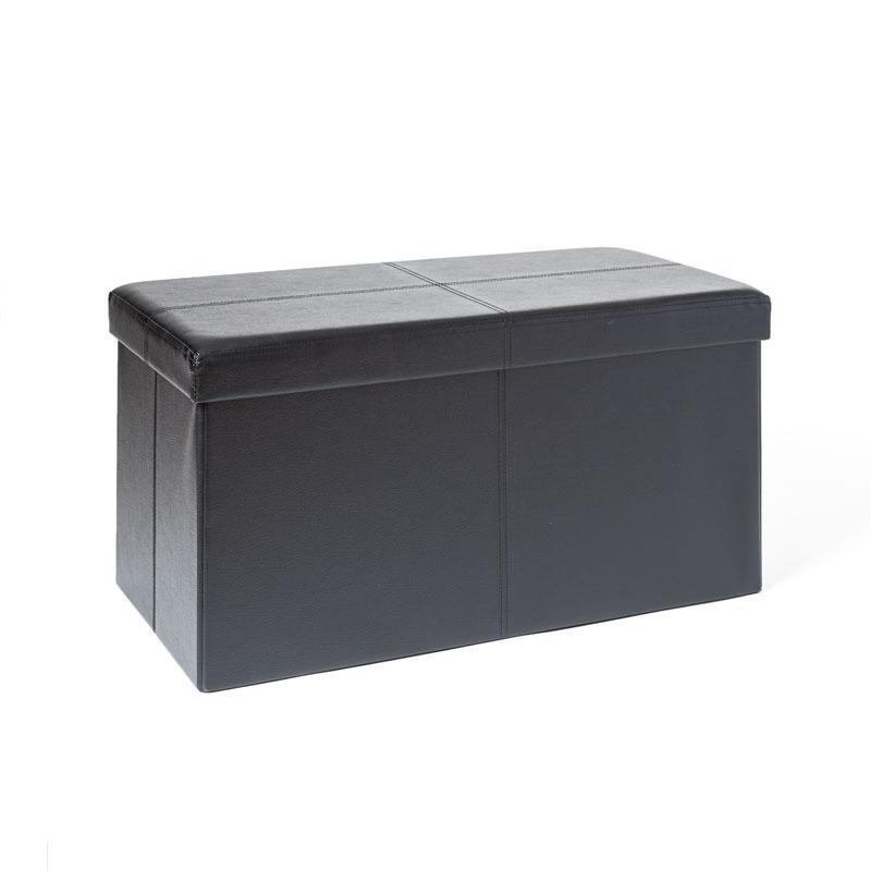 Banc Coffre Rangement Pliable Noir 76x38x38 Cm